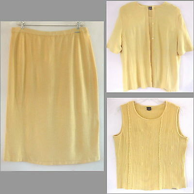 Geiger 3-piece knit suit Austria 50 Yellow 2X 3X Skirt Shell S/S sweater Outfit