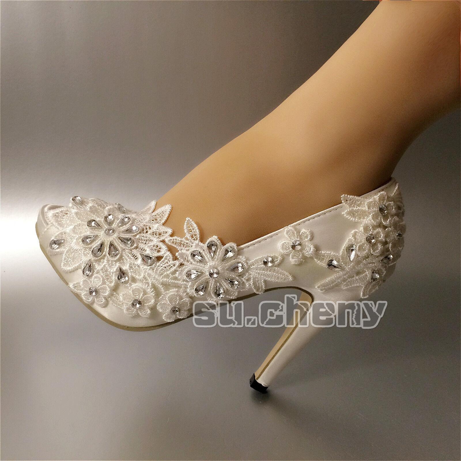RHINESTONES satin WEISS ivory lace open toe Wedding schuhe bridal heel Größe 5-11