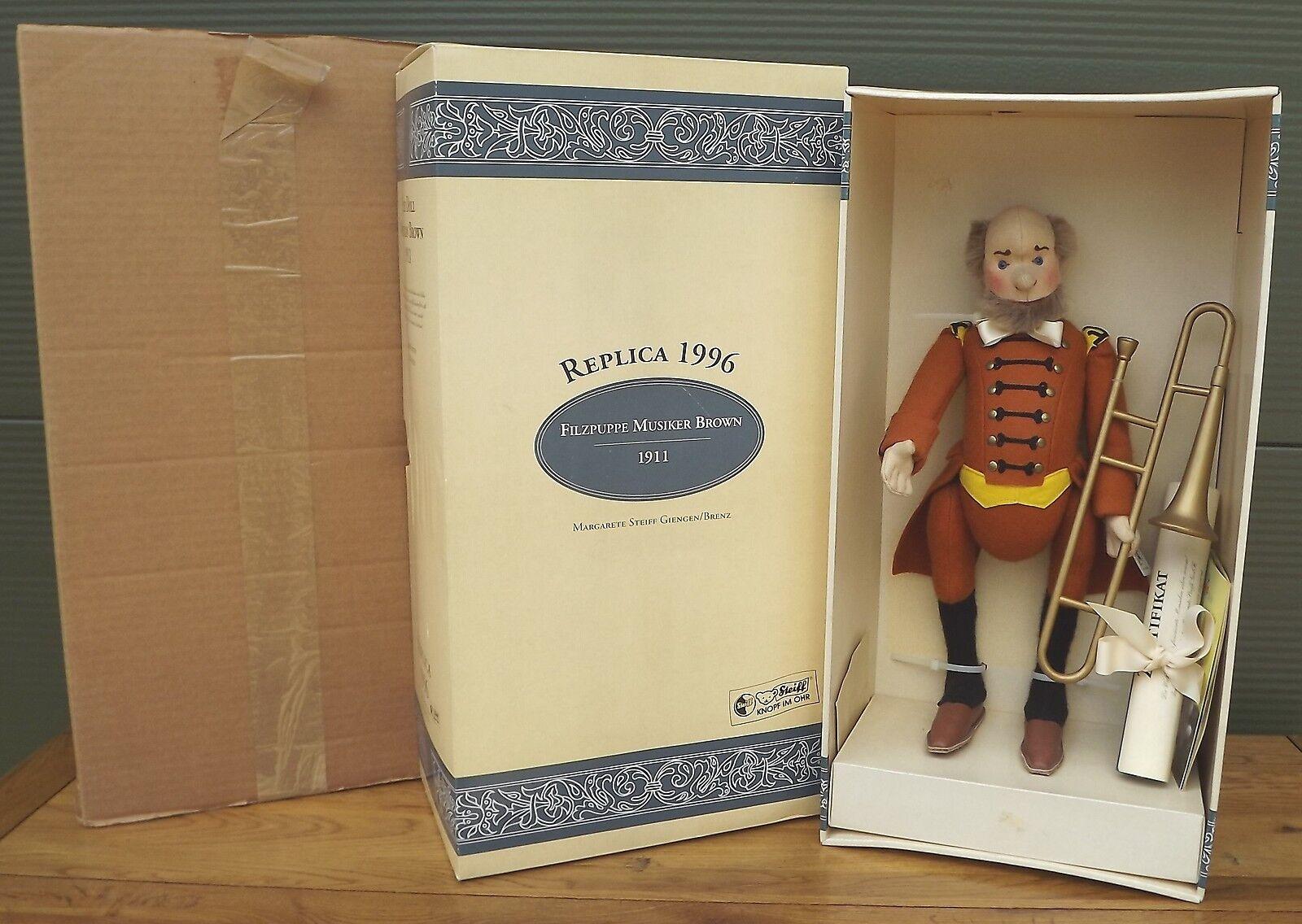 In scatola 39cm Steiff Panno Feltro Bambola Musicista Marronee TROMBONE Ltd. ed. ( 411908)