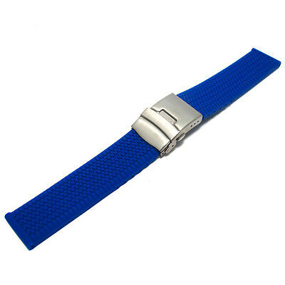 Tyre Tread Design Silicone Deployment Watch Strap Band 20mm 22mm 24mm (Style 3)