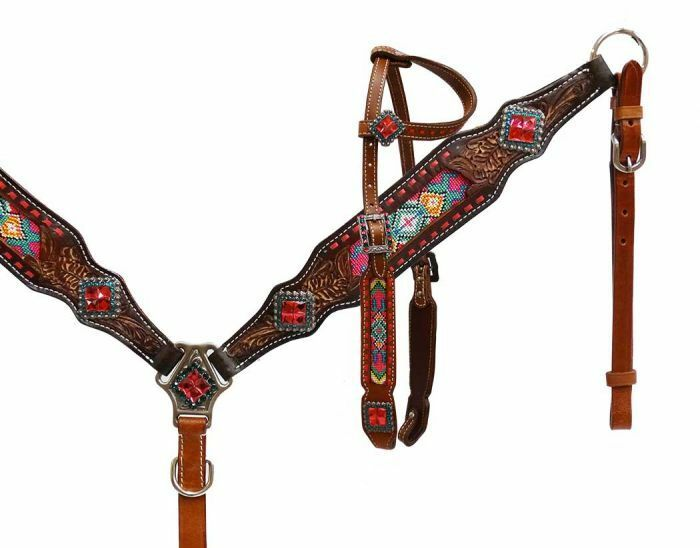 Showman 1Ear Leather Multi colord Beaded Inlay Horse Bridle Breast Collar Reins