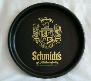 VINTAGE-Black-Gold-PLASTIC-13-034-Serving-TRAY-Schmidt-039-s-Philadelphia-Beer-Brewing