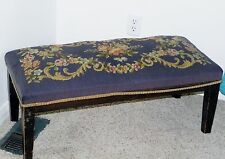 "Antique Wood Wooden Needlepoint Tapestry Stool Ottoman Bench 33""x15"" Footstool"