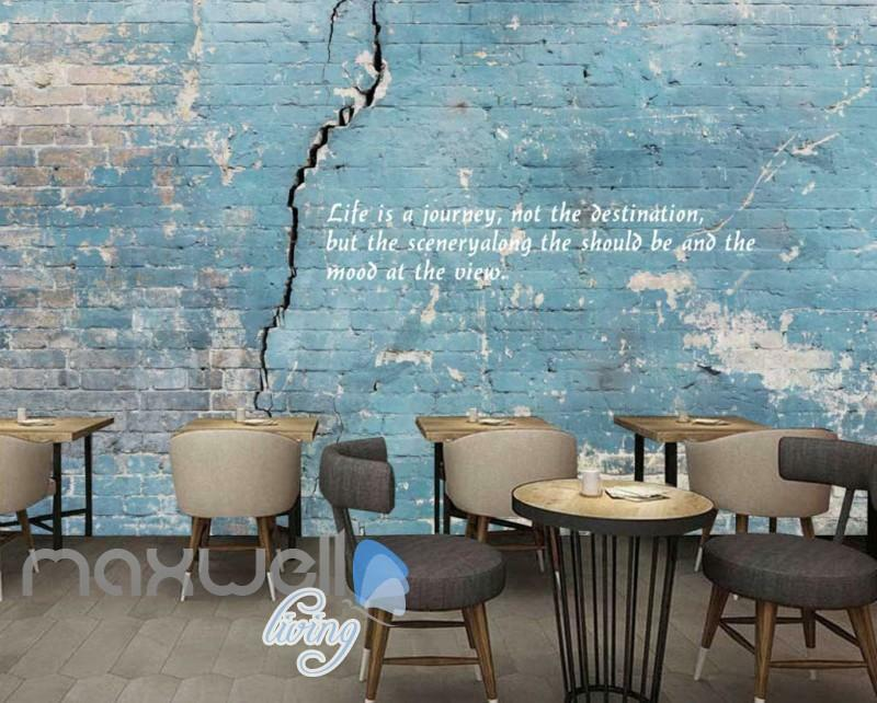 Old Damage blue Wall With Quote Art Wall Murals Wallpaper Decals Prints Decor