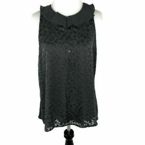 LC-Lauren-Conrad-Sleeveless-Top-Blouse-S-Small-Layered-Gray-Ruffle-Neck-NWT