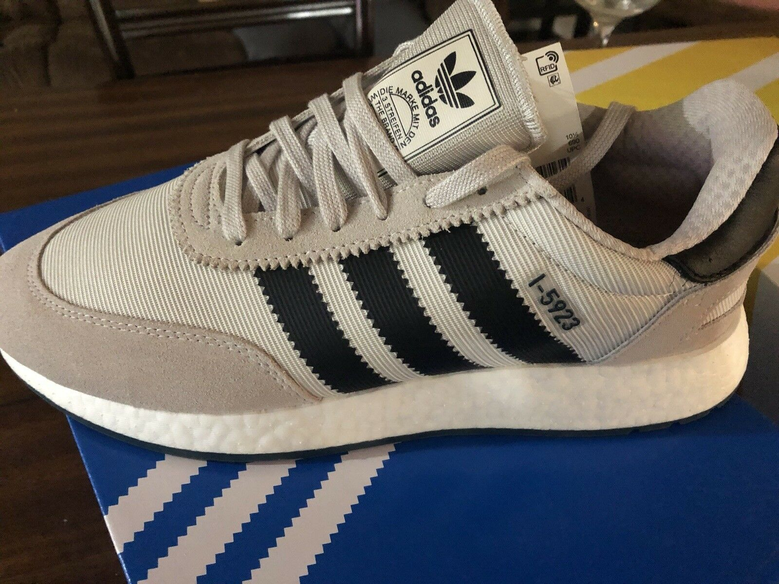 Brand New Adidas i-5923 Chalk Pearl with free shoe trees and box