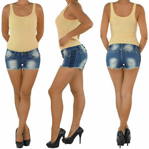 Damen-Hot-Pants-Hotpants-Jeans-Shorts-Kurze-Hose-Capri-Hueft-Stretch-Blau-0615