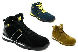 Men's Leather Suede Lightweight Safety Boots Uk Size 7-11 *fully Eu Regulated*