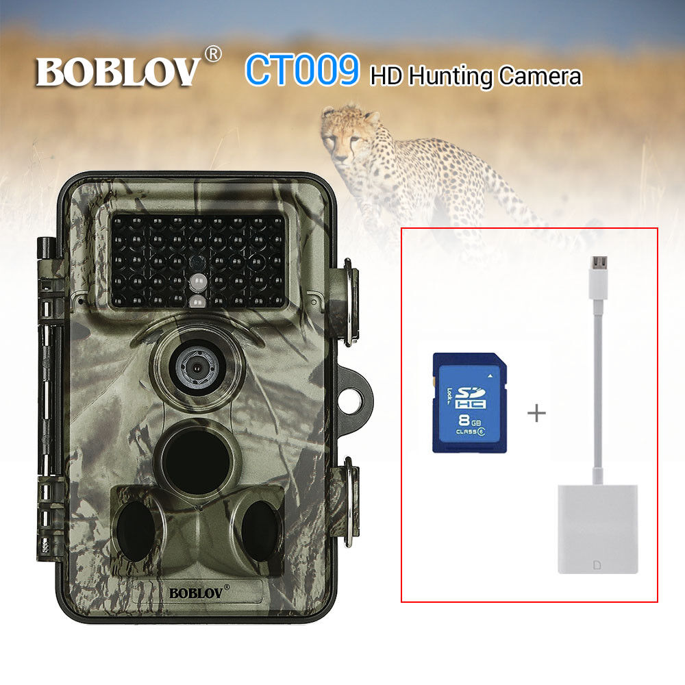 CT009 Hunting Scouting Camera 16MP 1080P HD Waterpoof Home Security+8GB+Reader