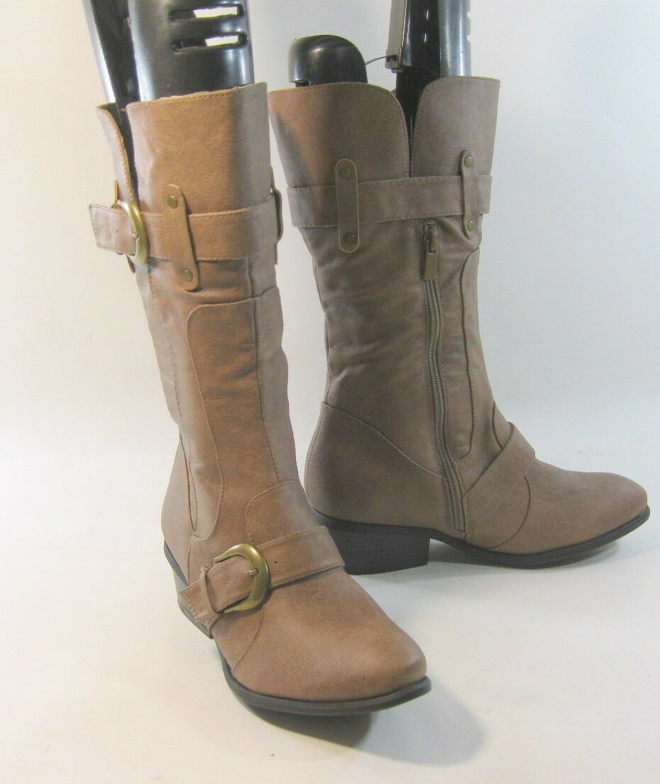 Brown Faux Leather 2  Low Heel Side Buckles Mid-Calf Boot Size 8.5
