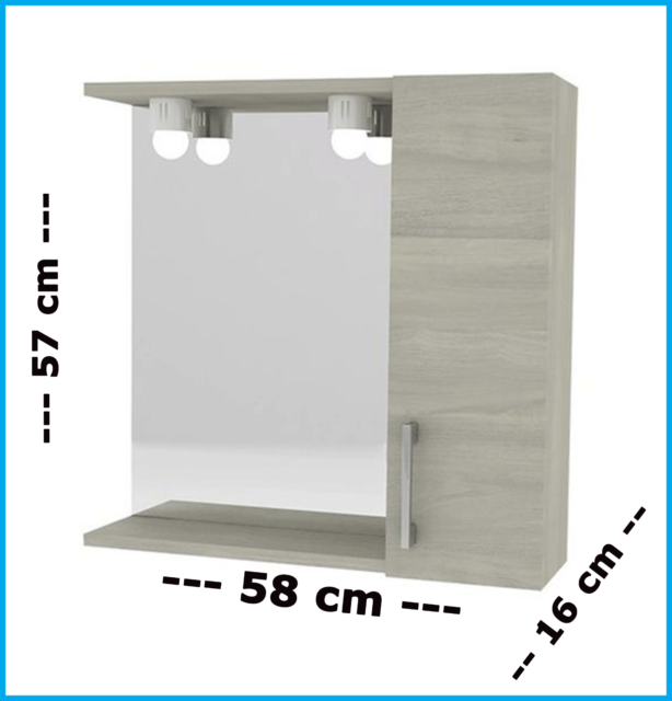 Pensile Bagno con Specchio Mobile Specchiera 1 anta da parete armadietto led