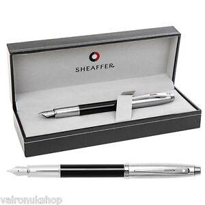 Superb Sheaffer 100 Black - Chrome Fountain Pen in Luxury Box (E0931353) oAXkVGpT-09155212-845927915
