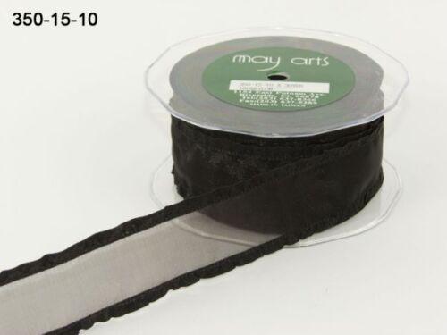 MAY ARTS RIBBONS~SHEER LICORICE BLACK RIBBON WITH RUFFLE EDGE~1.5 INCH X 1 YARD!
