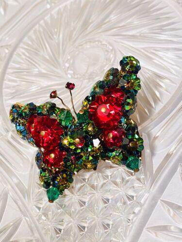 VTG  Crystal Butterfly Brooch Pin Watermelon Marga