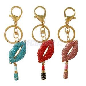 Ladies-Lip-Lipstick-Pendant-Keychain-Keyring-Keyfob-Key-Bag-Purse-Decor-Ornament