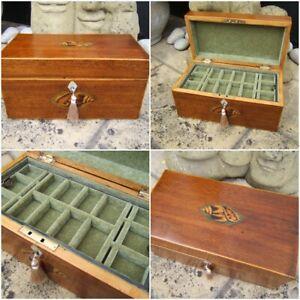 ANTIQUE JEWELLERY BOX -  GEORGIAN INLAID MAHOGANY WONDERFUL INTERIOR