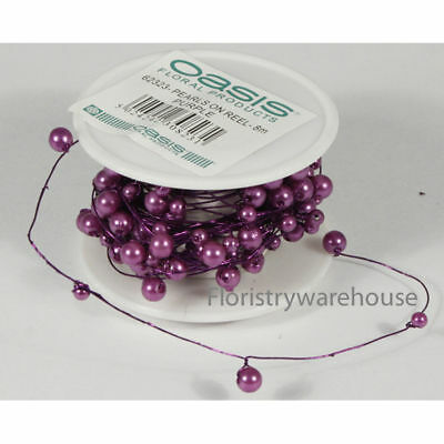 Purple pearls on wire 8 metre long reel of 4-6mm pre wired acrylic pearls