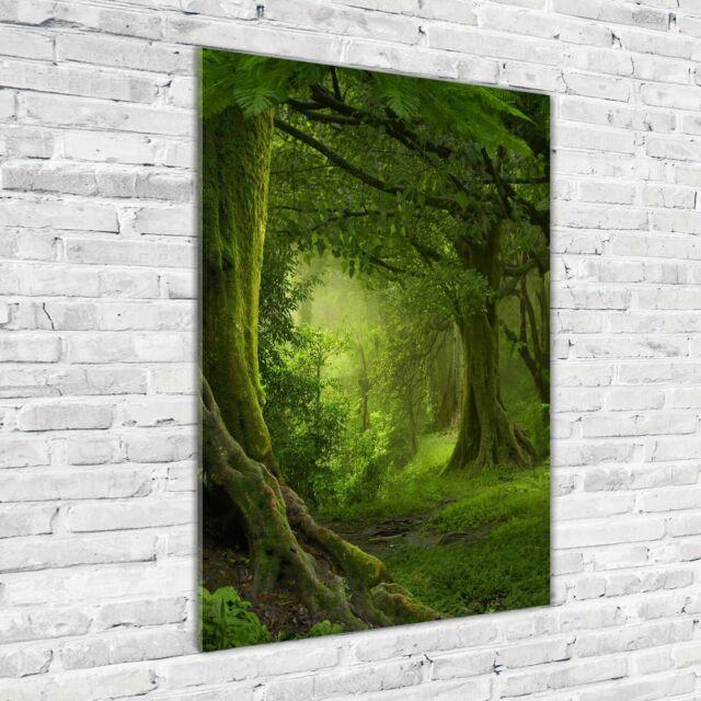 Wand-Bild Kunstdruck aus Hart-Glas Hochformat 50x100 Park Treppen