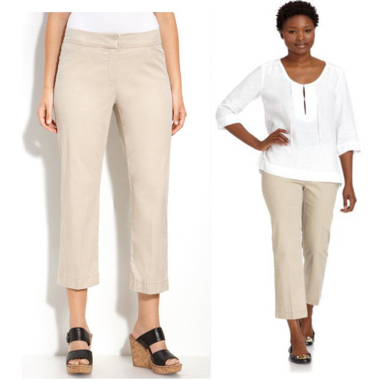 168 Eileen Fisher Khaki Stretch Cotton Tencel Twill Straight Crop Pants 6