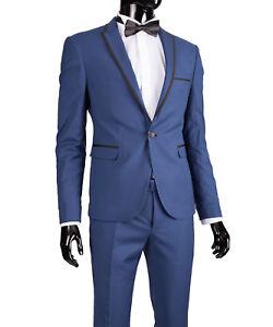 Slim-Fit-Herrenanzug-in-Blau-Spitzrever-Smoking-Anzug-Hochzeit-Buehne-Sakko