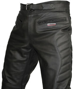 Mens-CE-Armoured-Motorcycle-Biker-Black-Leather-Trousers-Motorbike-Jeans-Pants