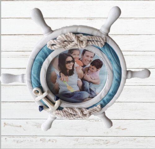 Bilderrahmen Fotorahmen Fotohalter Maritim Nautika  Steuerrad mit Anker und Tau