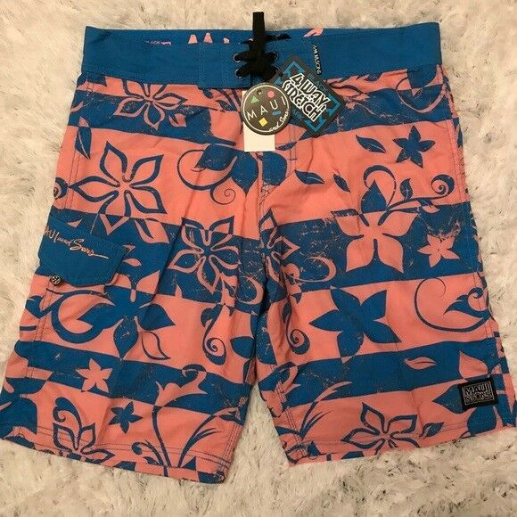 NEW w Tag-Men's MAUI & Sons Pink bluee Shorts 34