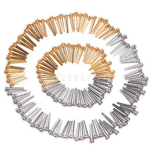 6 Pcs Brass Guitar Bridge Pins for Acoustic Guitar Gold Chrome Accessories