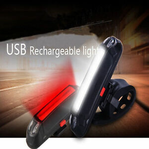 US USB Rechargeable Bicycle Bike COB LED Front Rear Tail Lamp Head Light