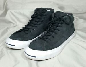 8632d616e40fe9 Image is loading Converse-Jack-Purcell-Leather-Mid-Tops-Shoes-Black-