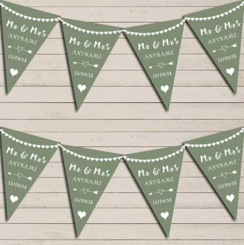 Heart Mr /& Mrs Sage Green Wedding Anniversary Bunting Party Banner