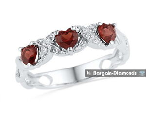 3082e3b5c6409 Details about natural garnet 3 stone heart diamond 925 sterling silver  women's ring .83 Ct