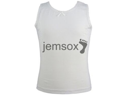 5 x Girls Vest 100/% Cotton Vests White 1.5-2 2-3 3-4 5-6 years School warm
