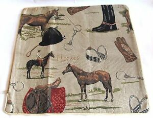 Horse Signare Tapestry Cushion Cover - (Horses, Bits, Gloves, boots etc)