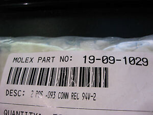 Molex-Connector-19-09-1029-Plug-Housing-Shell-2-Circuits-Nylon-NOS-QTY-10