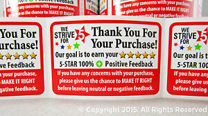 50 premium ebay thank you for your purchase 5 star for How to send a shipping label to someone