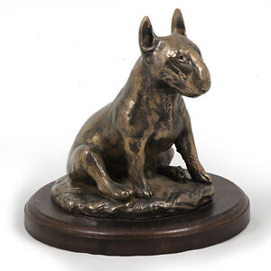 Bull-Terrier-sitting-dog-bust-statue-on-wooden-base-UK