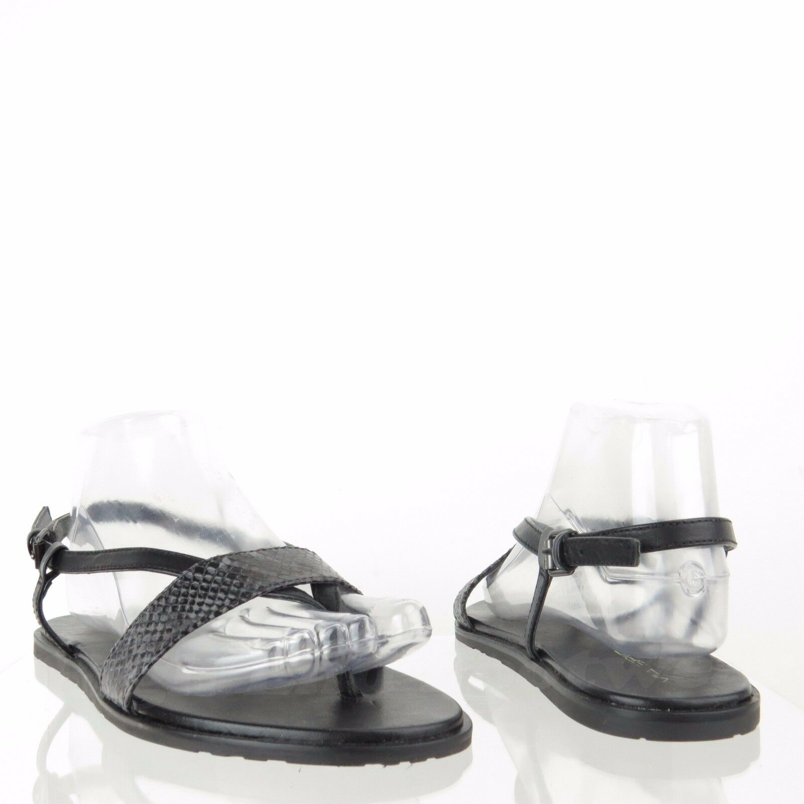 Via Spiga Alena Women's shoes Black Leather Snakeprint Thong Sandals Sz 8 M NEW