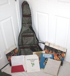 SéRieux Knilling Cello Sac & Musique, Livres Vintage Feuilles Dossier Lot Étui Souple Joli Vert-afficher Le Titre D'origine