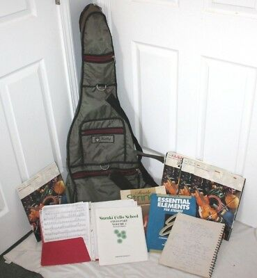 Estricto Knilling Cello Bag & Music, Vintage Books Sheets Folder Lot Soft Case Nice Green
