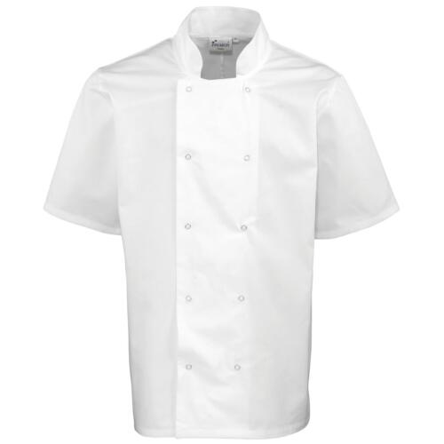 XXL New PREMIER Mens Studded Front Short Sleeve Chefs Shirt Jacket in White XS