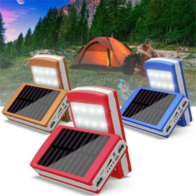 300000mAh 20 LED Solar Portable Power Bank Dual USB Battery Charger For  Phone