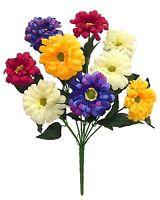 9 Zinnias Yellow Cream Purple Pink Silk Wedding Flowers Bouquets Centerpieces