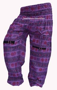Indian-Holgado-Estilo-Haren-Pantalones-de-yoga-para-hombres-y-mujeres-Purpura-Impresion-De-Algodon