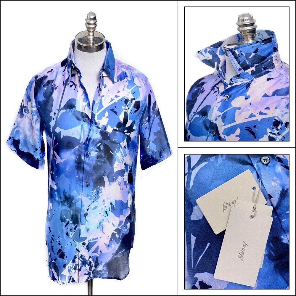 Nwt Brioni blue Lavendel Foral 100% Seide S S Knöpfe Hemd M Passt L
