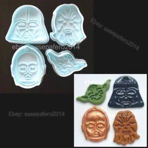 756fa827c2f4d Details about Star Wars cookie cutter with stamp 4 pieces set. Cortador  Guerra de las Galaxias