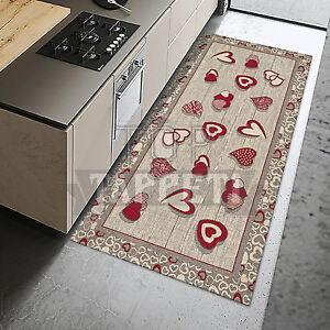 Lovely rosso tappeto passatoia cucina ciniglia lavabile antiscivolo cuori ebay - Tappeti cucina ebay ...