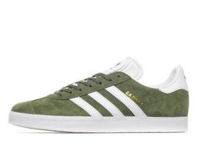 Image is loading Adidas-Originals-Gazelle-Olive-Green-Suede-amp-White-