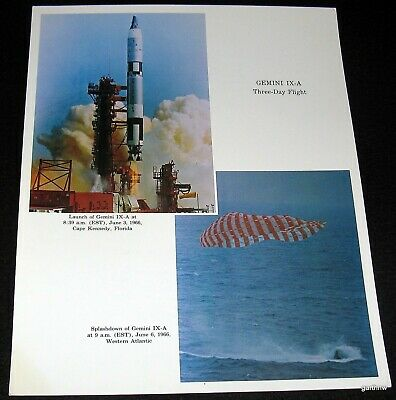Exploration Missions Nasa Photo 1966 Gemini Ix-a Three Day Flight Historical Memorabilia Lift-off & Splashdown Color 2019 Official