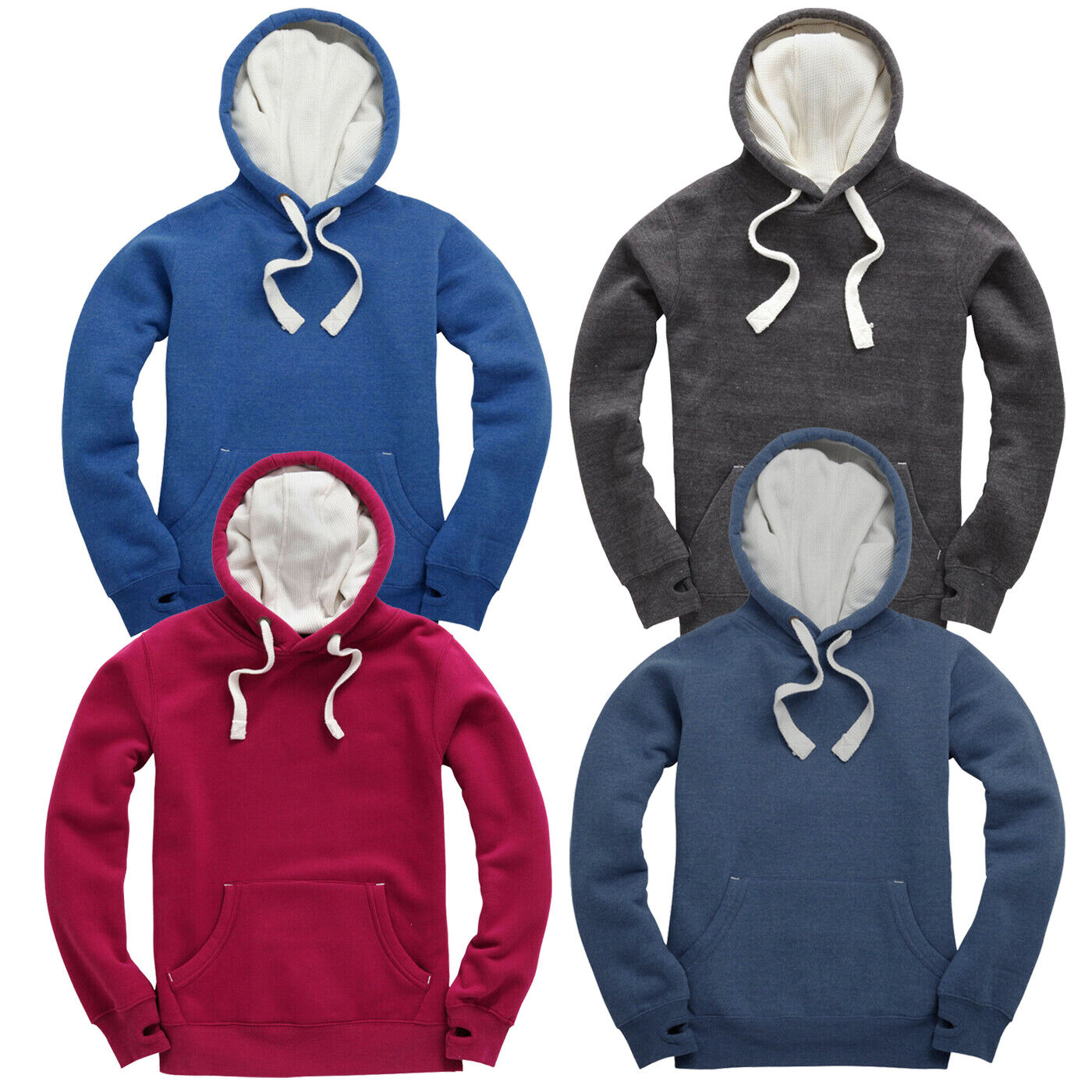 Mens Soft Fleece Hoodie Thumb hole Hooded Top Jumper S to XXL UNISEX